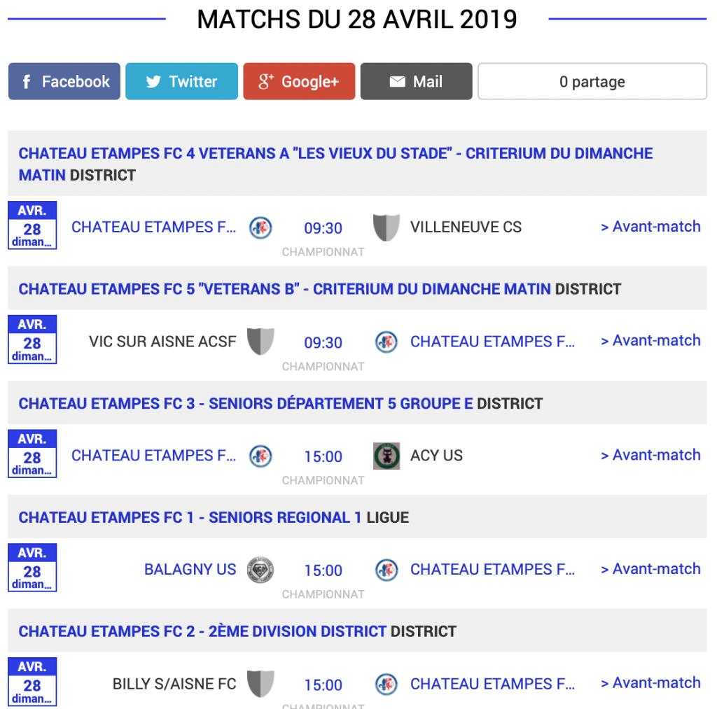 football aisne agenda matchs dimanche 28 avril 2019