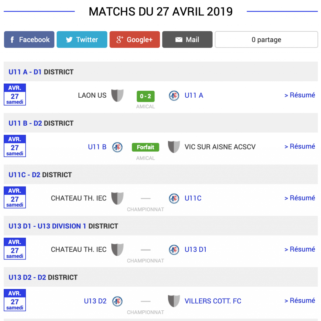 football aisne chateau thierry resultats samedi 27 avril 1