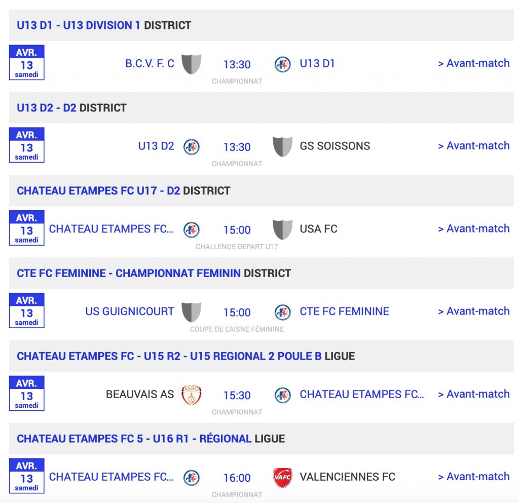 Football matchs 13 avril 2019