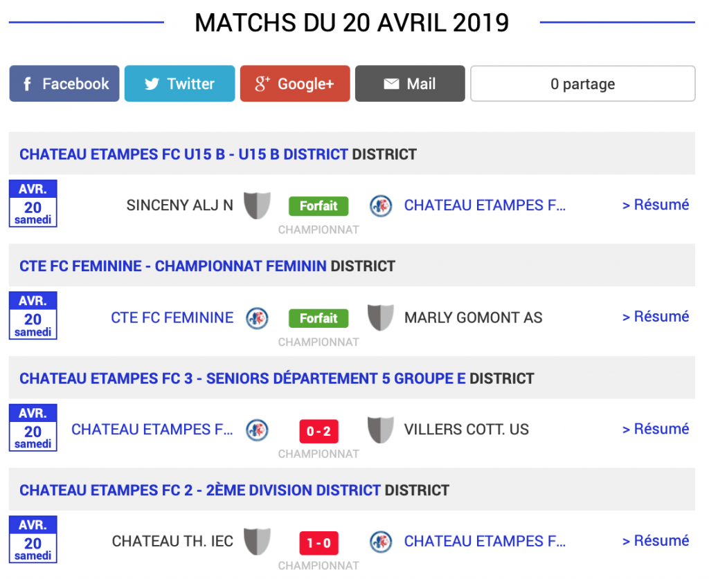 football aisne resultats matchs 20 avril 2019