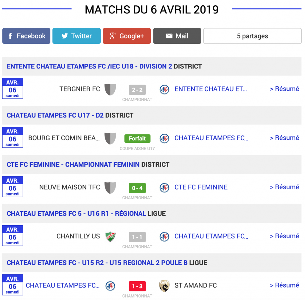 Château-Thierry Football résultats matchs du 6 avril