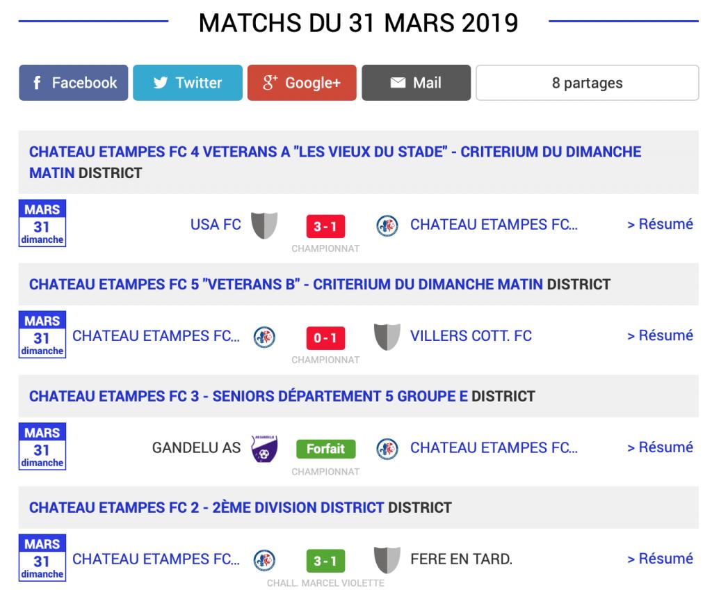 Football classement matchs aisne 30 mars