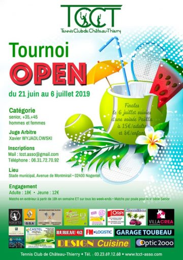 Tennis tournoi open tcct juin juillet 2019