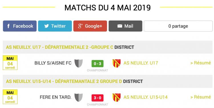 football aisne resultats matchs 4 mai 2019