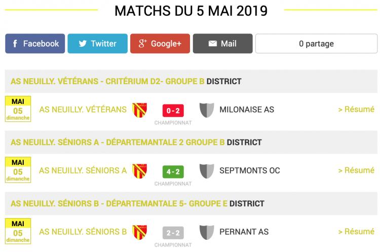 football aisne resultats matchs 5 mai 2019 1 sur 2