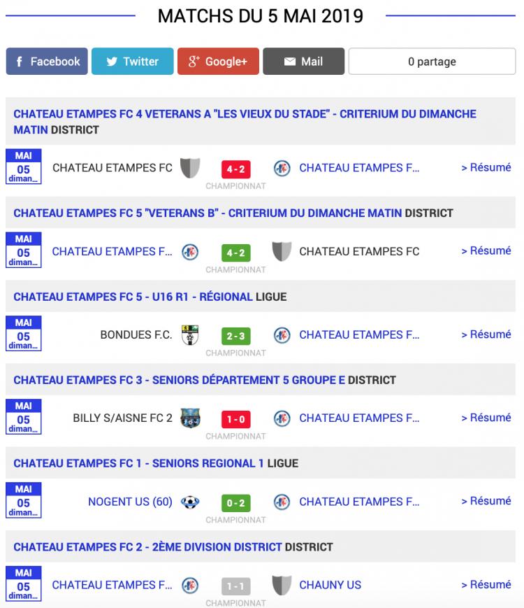 football aisne resultats matchs 5 mai 2019 2 sur 2