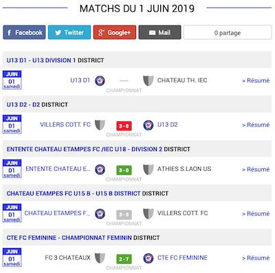 football resultats matchs aisne 1 juin 2019