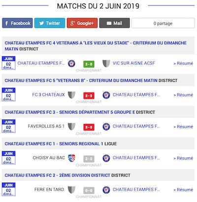 football resultats matchs aisne 2 juin 2019