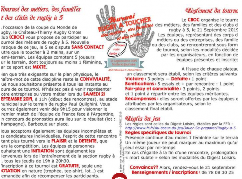 Informations tournoi CROC Chateau Thierry rugby a 5