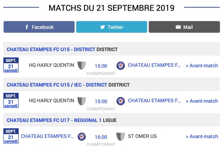 Agenda des matchs CTEFC Chateau Thierry 21 septembre