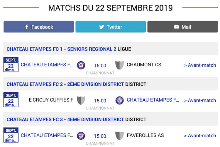 Agenda des matchs CTEFC Chateau Thierry 22 septembre