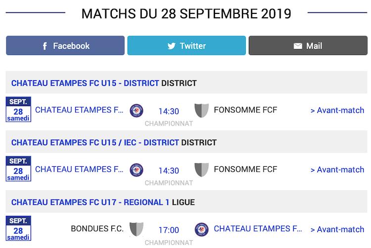 Agenda des matchs CTEFC Chateau Thierry 28 septembre