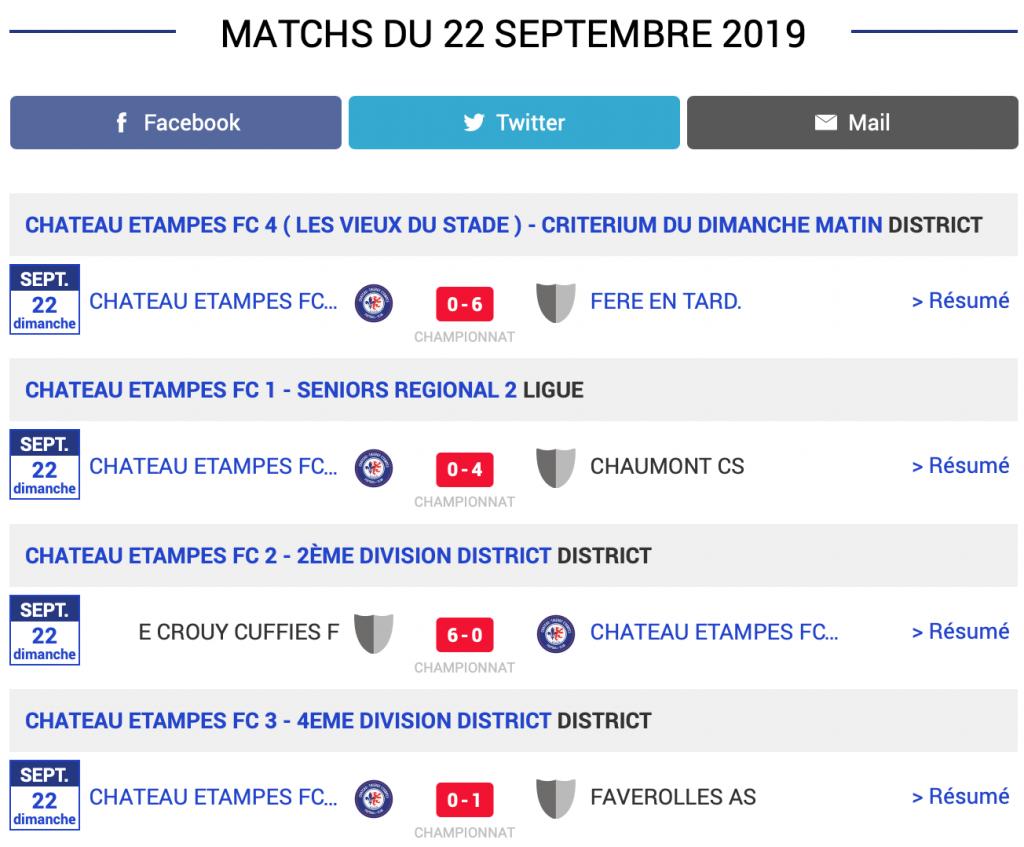 Grille des résultats des matchs de football du CTEFC du samedi 22 septembre 2019