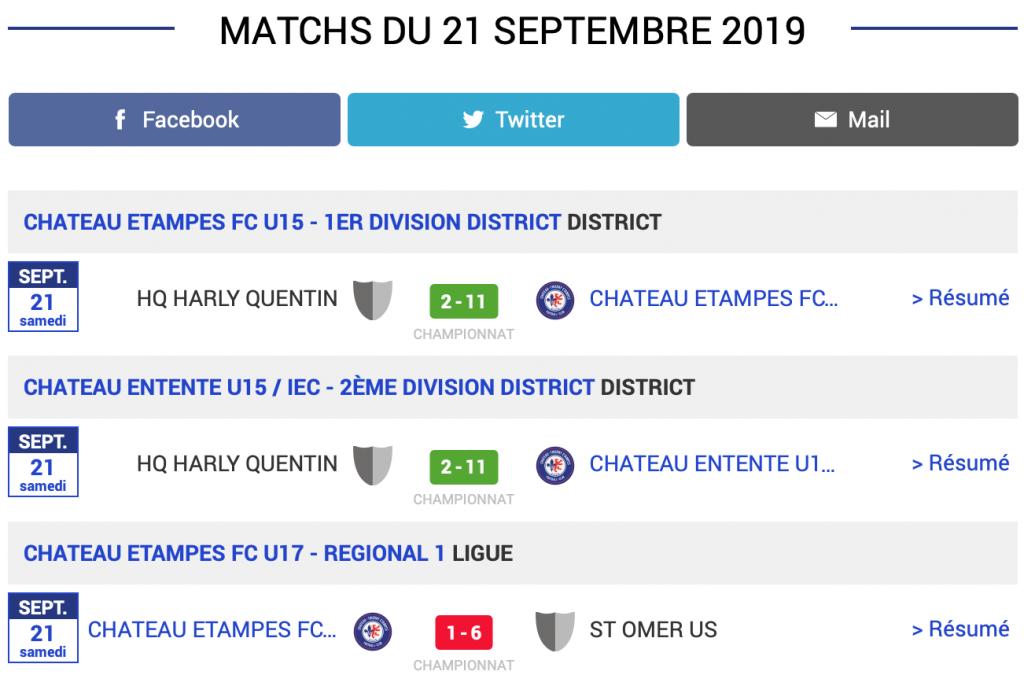 Grille des résultats des matchs de football du CTEFC du samedi 21 septembre 2019