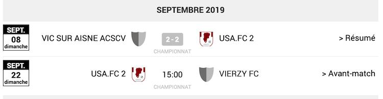 Agenda des matchs USA FC 2 septembre