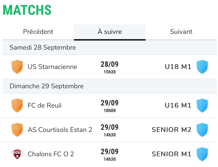 Planning des matchs de football du SC Dormans les 28 et 29 septembre