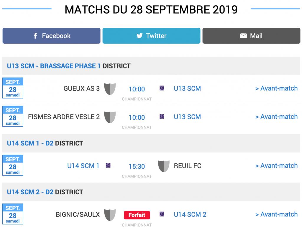 Grille des matchs de football du SC MONTMIRAIL du 28 septembre 2019