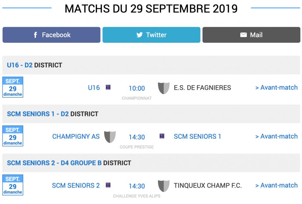 agenda matchs football sc montmirail 29 septembre 2019