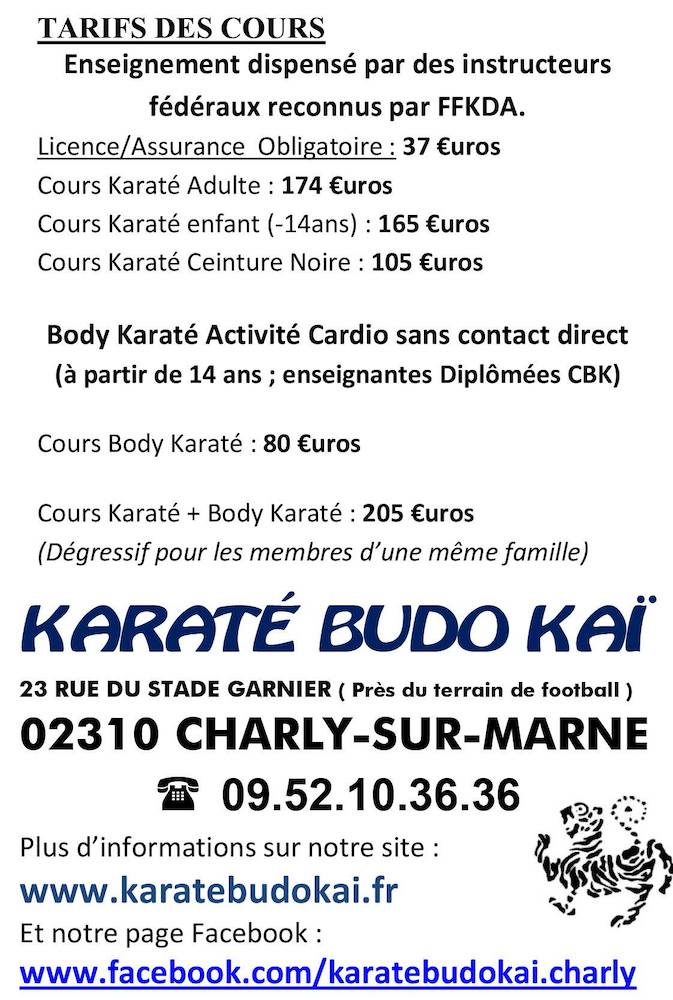 Tarifs cours karate budo kai charly sur marne