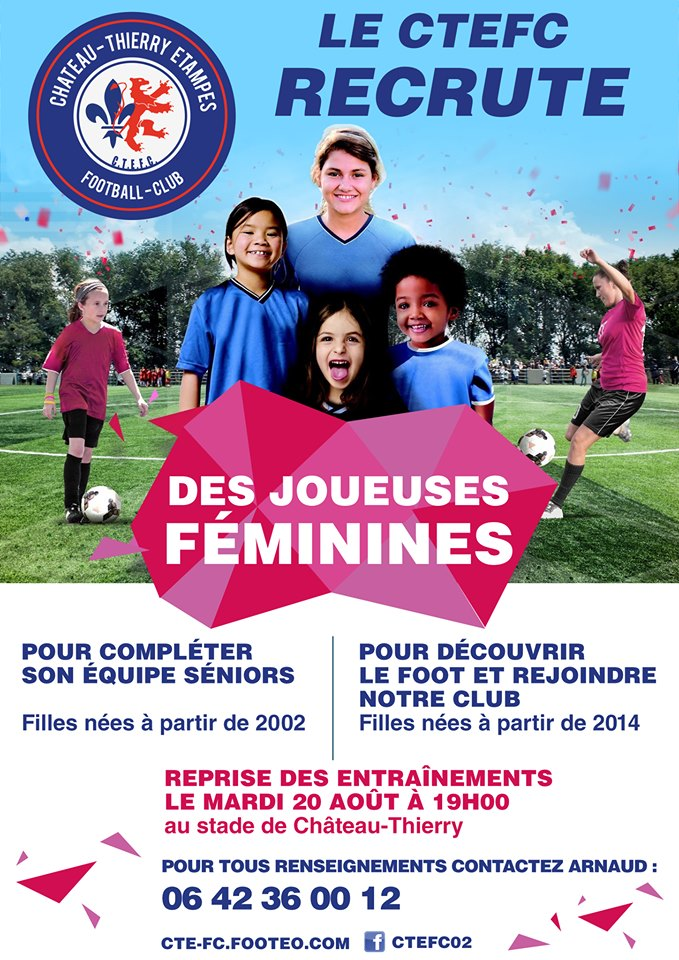 Affiche CTEFC recrutement joueuses football