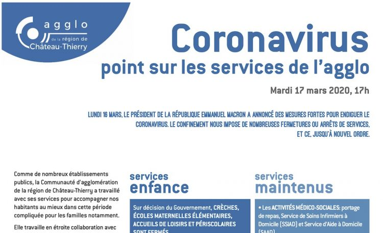 services agglo CARCT 17 mars 2020