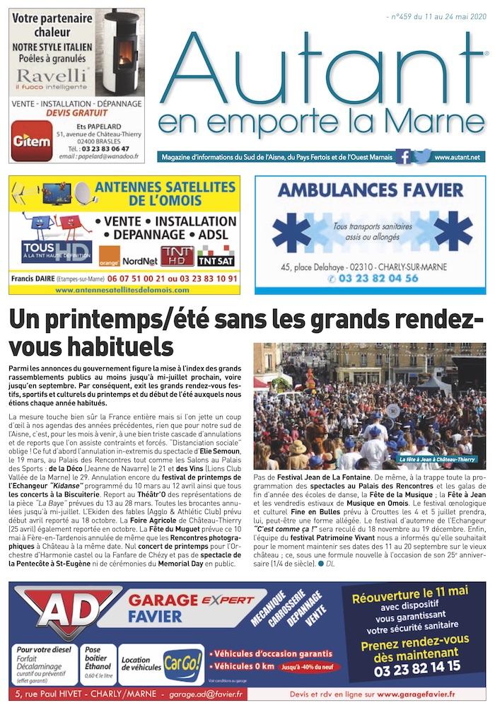 Couverture Autant en emporte la Marne 459 du 11 mai 2020